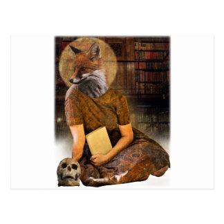 Vintage Fox Lady Face Animal Postcard