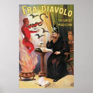 Vintage Fra Diavolo el gran poster del mago
