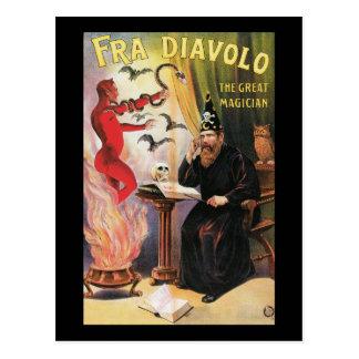 Vintage Fra Diavolo el gran poster del mago Postal