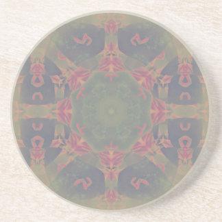 Vintage Fractal Polygons Blue Drink Coasters