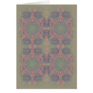 Vintage Fractal Polygons Blue Greeting Card