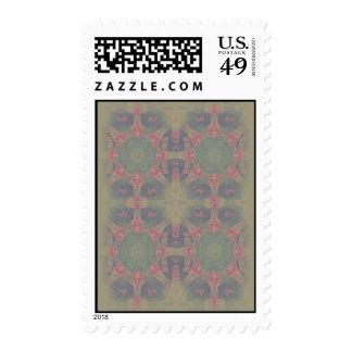Vintage Fractal Polygons Blue Stamps