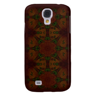 Vintage Fractal Polygons Brown Samsung Galaxy S4 Covers