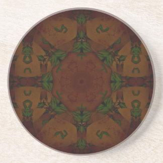 Vintage Fractal Polygons Brown Drink Coaster