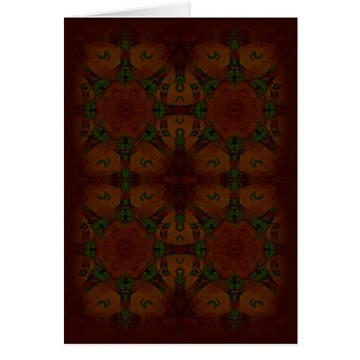 Vintage Fractal Polygons Brown Greeting Cards