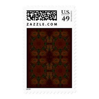 Vintage Fractal Polygons Brown Postage Stamps