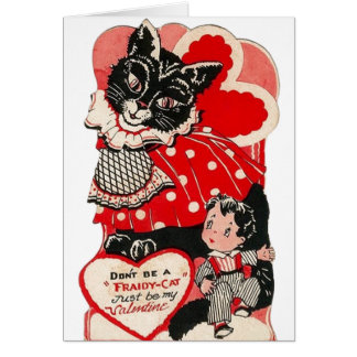 vintage fraidy cat valentines day greeting card