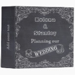 Vintage frame and chalkboard wedding planner vinyl binders