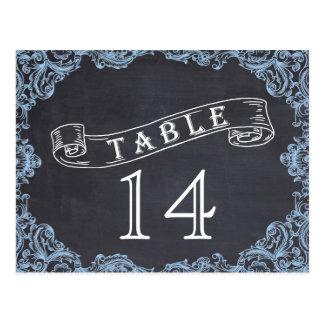 Vintage frame and chalkboard wedding table number postcard