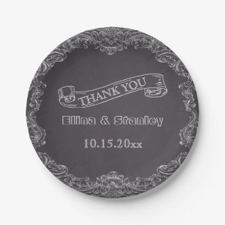 Vintage frame and chalkboard wedding Thank You Paper Plate