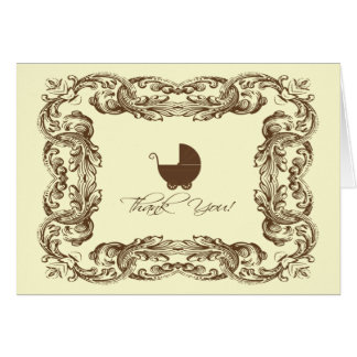 Vintage Frame Baby Carriage Thank You Note Card