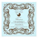 Vintage Frame Brown Blue Baby Shower Invitation