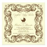 Vintage Frame Brown Couples Baby Shower Invitation