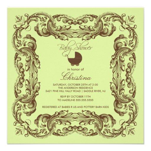 Vintage Frame Brown Green Baby Shower Invitation