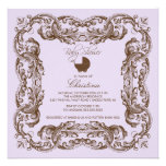 Vintage Frame Brown Lilac Baby Shower Invitation