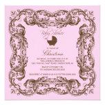 Vintage Frame Brown Pink Baby Shower Invitation