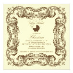 Vintage Frame Brown Yellow Baby Shower Invitation
