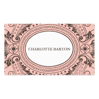 Vintage Frame Calling Card in Pink and Brown Double-Sided Standard Business Cards (Pack Of 100)
