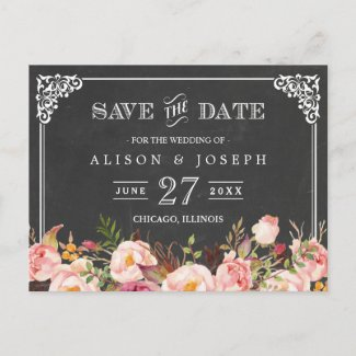Vintage Frame Chalkboard Floral Save the Date Announcement Postcard