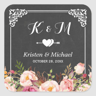 Vintage Frame Chalkboard Floral Wedding Favor Square Sticker
