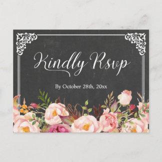 Vintage Frame Chalkboard Floral Wedding RSVP Invitation Postcard