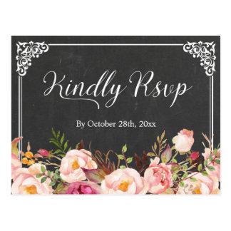 Vintage Frame Chalkboard Floral Wedding RSVP Postcard