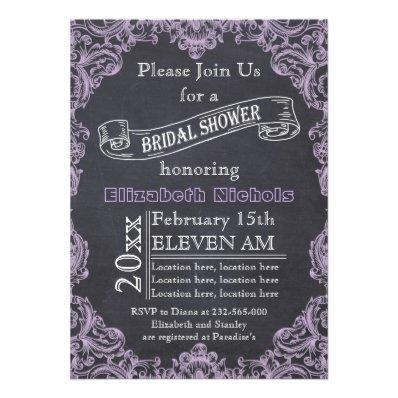 Vintage frame & chalkboard wedding bridal shower announcements