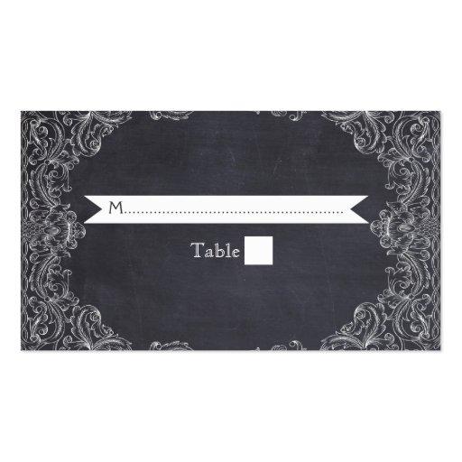 Vintage frame & chalkboard wedding place card business card templates