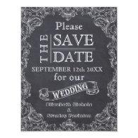 Vintage frame & chalkboard wedding Save the Date 4.25