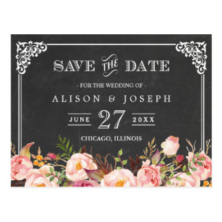 Vintage Frame Chalkboard Wedding Save the Date Postcard