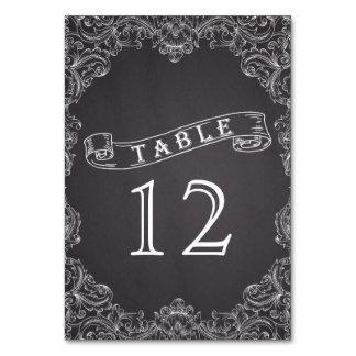 Vintage frame & chalkboard wedding table number table cards