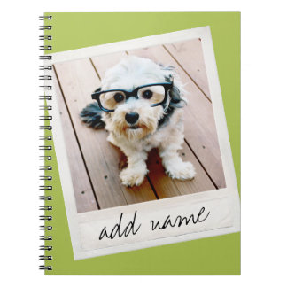 Vintage Frame Custom Photo Lime Green Notebook