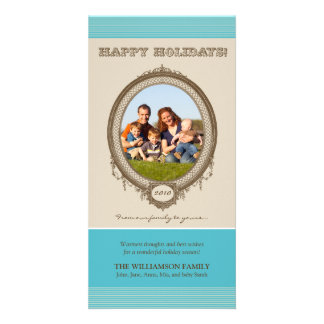 Vintage Frame Happy Holidays Card (aqua/taupe)