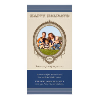 Vintage Frame Happy Holidays Card (navy/taupe)