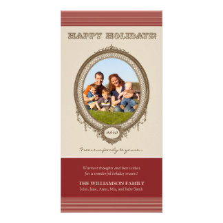 Vintage Frame Happy Holidays Card (red/taupe)
