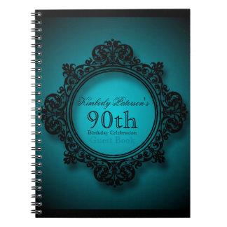 Vintage Frame in Blue - 90th Birthday Guest Book Spiral Notebook