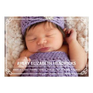 Vintage Frame Photo Birth Announcement