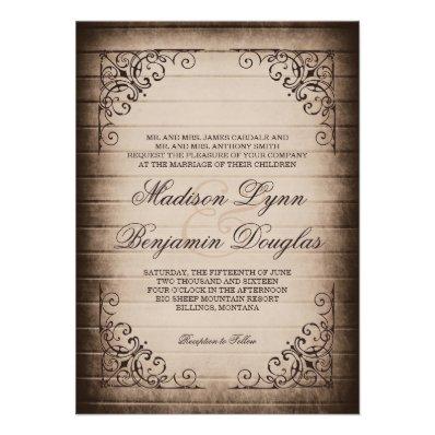 Vintage Frame Rustic Wood Wedding Invitations
