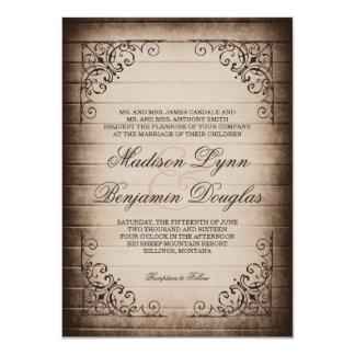 """Vintage Frame Rustic Wood Wedding Invitations 4.5"""" X 6.25"""" Invitation Card"""