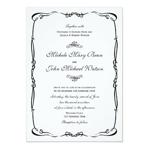 vintage frame white wedding invitation zazzle