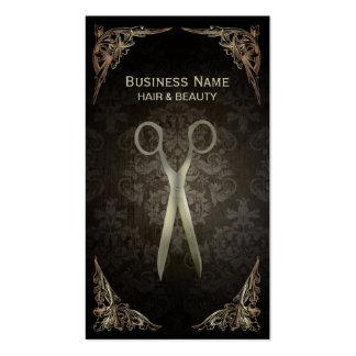 Vintage Framed Damask Hair Salon Punch Card Double-Sided Standard Business Cards (Pack Of 100)