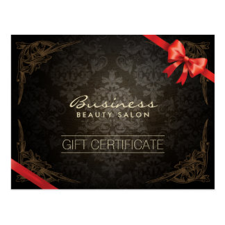 Vintage Framed Damask Red Ribbon Gift Certificate Postcard
