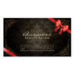 Vintage Framed Damask Red Ribbon Gift Certificates Double-Sided Standard Business Cards (Pack Of 100)