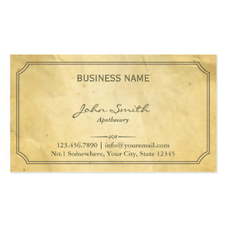 Vintage Framed Old Paper Apothecary Business Card Templates