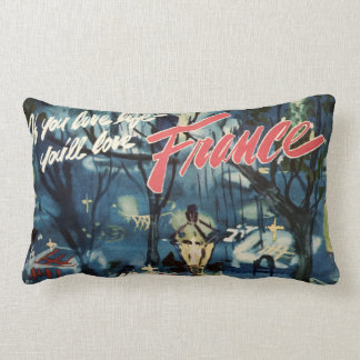 Vintage France Advertisement Blue Cafe Travel Throw Pillows