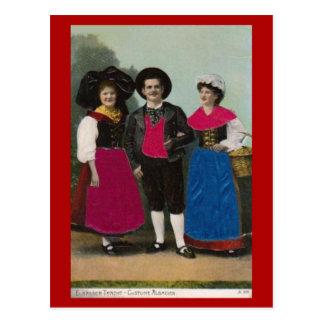 Vintage France, Alsace, Traditional costume Postcard