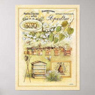 Vintage France Apiculture Beekeeping Bee Yard Poster