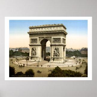 Vintage France Arc de Triomphe monument Paris Poster