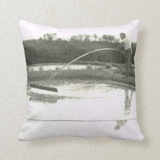 Vintage France,Atlantic Coast, working  salt pans Throw Pillow
