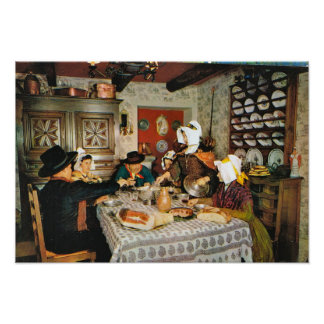 Vintage France,  Auvergne, traditional family meal Poster